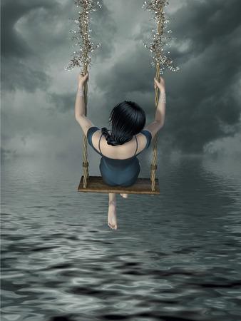 Fantasy girl with hammock in the lake