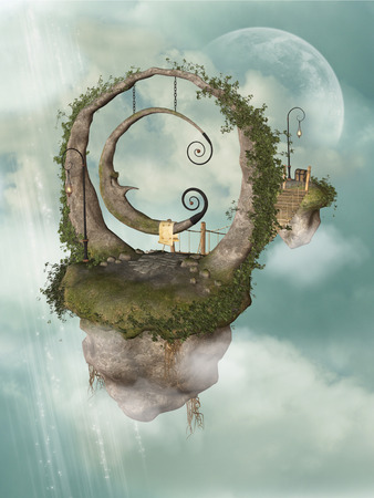 Fantasy landscape with floating island in the sky