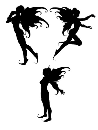 withe background: three silhouettes of isolated fairy in withe background Stock Photo