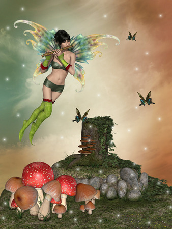 fairy with a flute in the garden with mushrooms photo