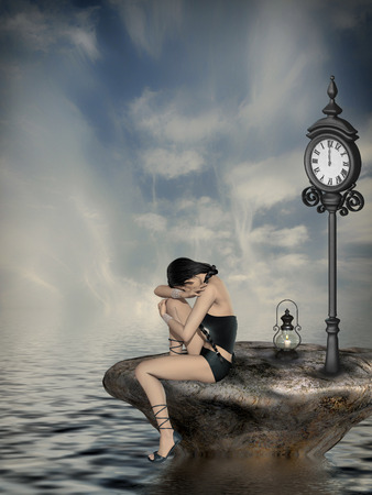 sad fairy in the ocean with big clock