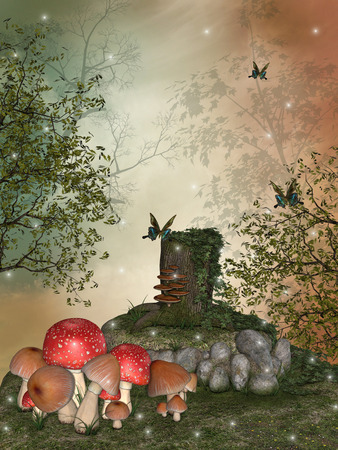 butterfly myth: Fantasy landscape in the garden with big mushroom