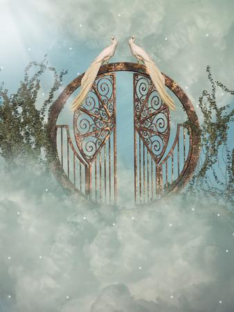 baby angel: Paesaggio di fantasia nel cielo con cancello