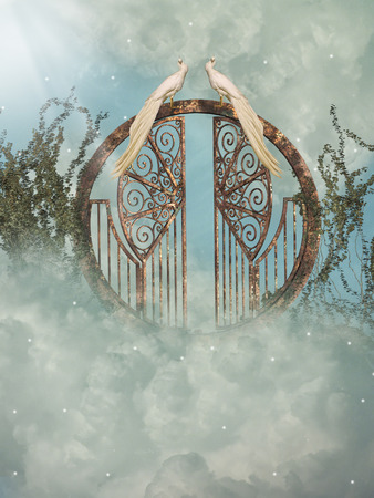 heaven?: Paisaje de fantas�a en el cielo con la puerta Foto de archivo