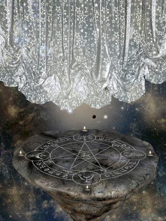 alas de angel: Paisaje de fantas�a en el cielo con isla flotante Foto de archivo