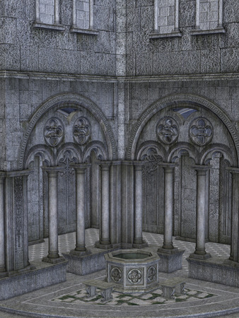 manipulate: Fantasy castle structure with fountain in the courtyard Stock Photo