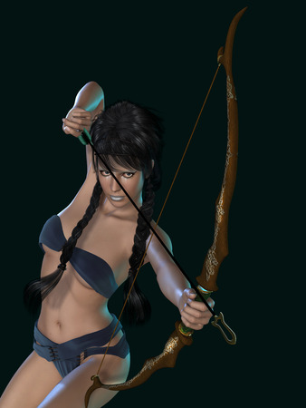 dark elf: isolated beauty fantasy archer in a black background
