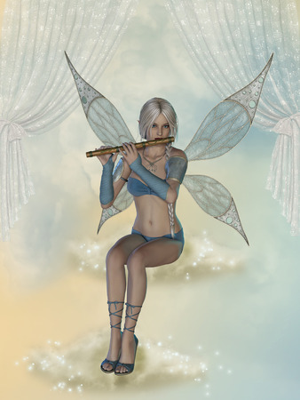 fantasy fairy: fairy in a fantasy landscape with flute