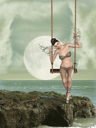 hammock: fairy in a hammock in a fantasy landscape