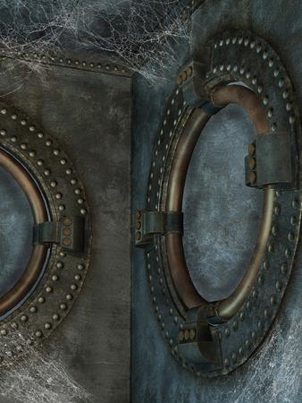 dark angel: steampunk cage with a dark angel and spider