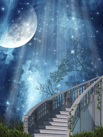 Fantasy landscape in the forest with stairs