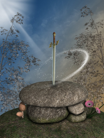 excalibur: Fantasy landscape with excalibur sword in the forest