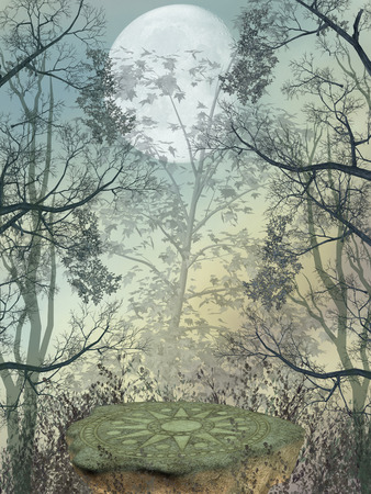 magic mushroom: Fantasy landscape in the forest with big rock