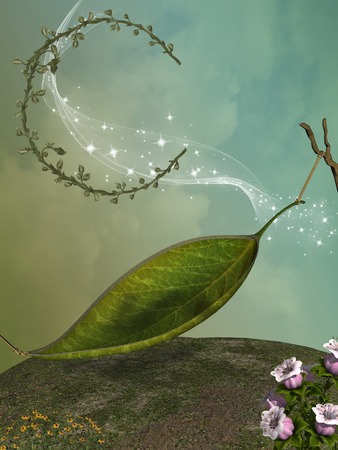 magical fairy: fairy in a fantasy landscape with leaft moon Stock Photo