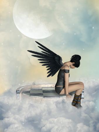 Dark angel in plataform sky with big moon Stock Photo