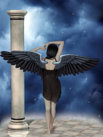 dark angel: Dark angel in the sky in a fantasy landscape