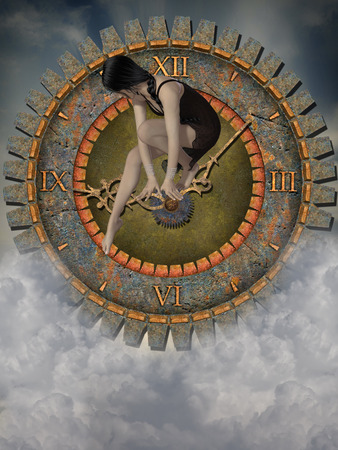 lady clock: steampunk clock in the sky with sad woman