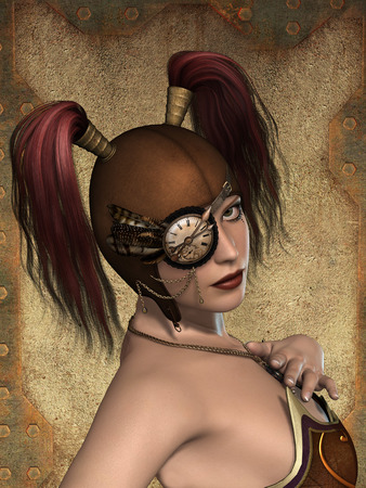 manipulate: steampunk woman in a grounge metal background