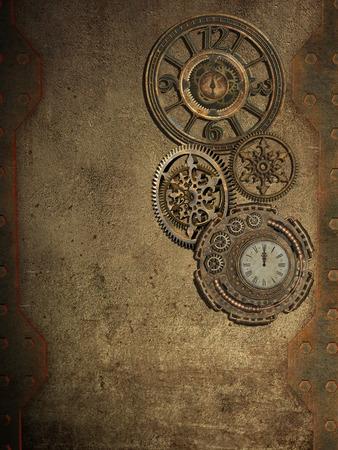 MAQUINA DE VAPOR: steampunk pared con el reloj y el metal de la pared