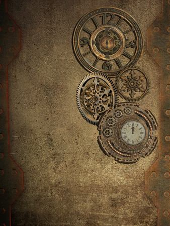 manipulate: steampunk wall with clock and metal wall