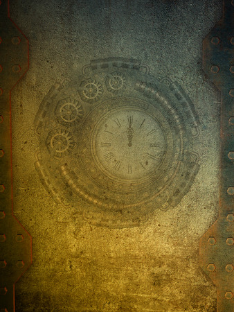 steam machine: steampunk grounge papel with metal walls Stock Photo