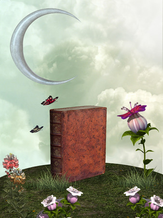 fantasy book: Fantasy landscape with big book and moon Stock Photo