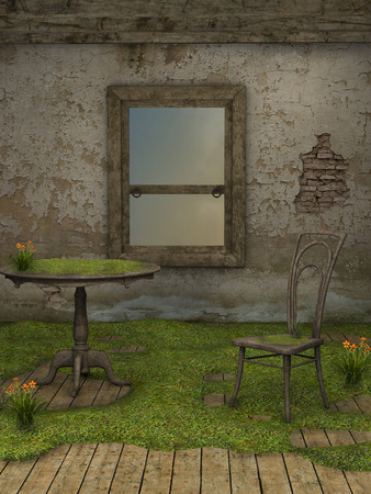 garden chair: Abandoned fairy house with chair and table
