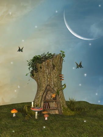 dream land: fairy house in a trunk with mushroom and butterfly