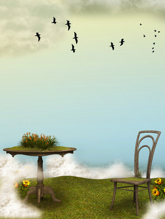 dream land: Fantasy landscape in the ocean with flowers and birds Stock Photo