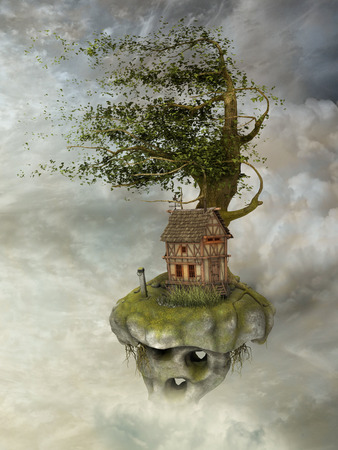 Fantasy landscape in floating island with wind