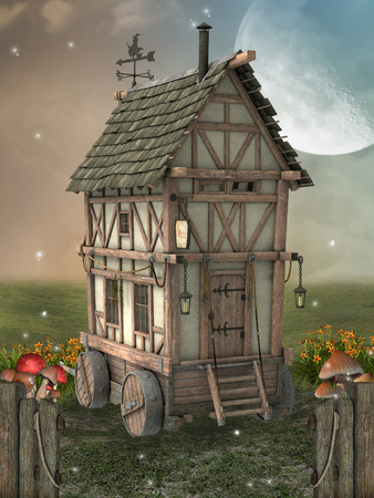 enchantment: Fantasy landscape with fairy house in the garden