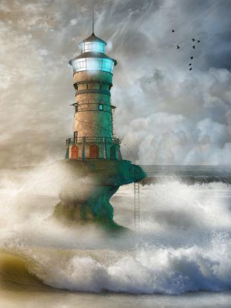 Fantasie landschap met vuurtoren in de oceaan