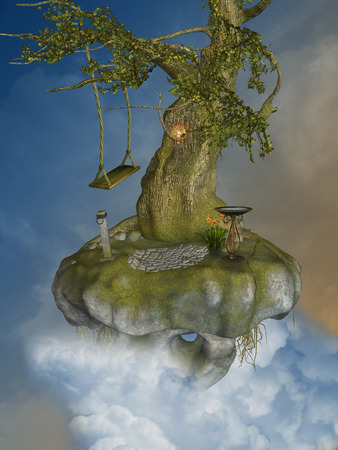 enchantment: Fantasy landscape with floating island in the sky