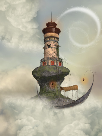 enchantment: Fantasy landscape with lighthouse in the sky