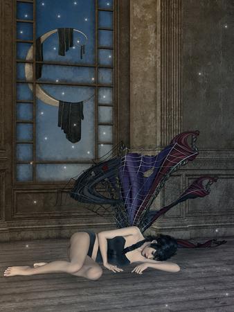 dark angel: Fantasy room with a dark angel and big moon