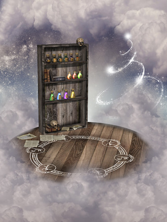 Fantasy landscape with library witch and magic sings