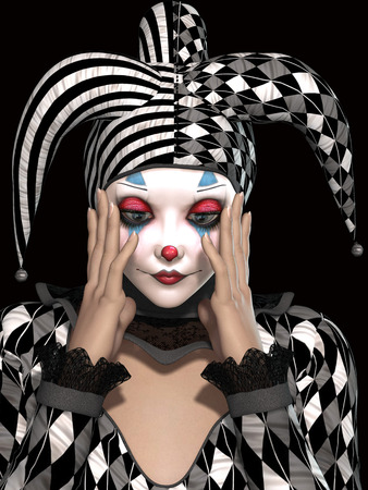 gothic window: isolated clown in black background whit sad expression