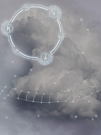 dream land: Fantasy landscape in the sky with rope ladder