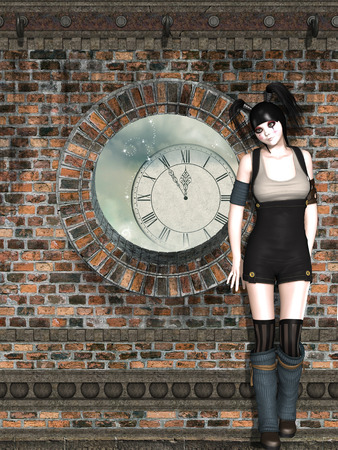 timeless: steampunk woman against a wall and a big clock