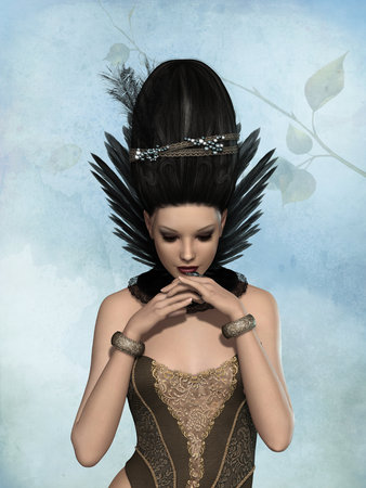 fantasy woman: 3d woman with big style hair and corset Stock Photo