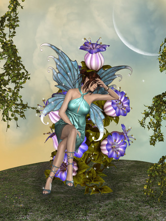 enchanting: Fantasy landscape with fairy in the garden