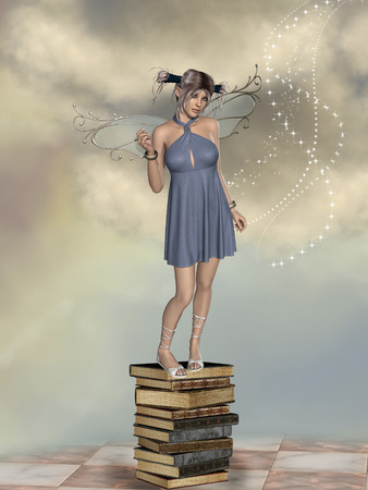 enchanting: Fantasy landscape with fairy in a pile of book