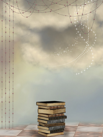 fantasy: Fantasy landscape with curtain and big books