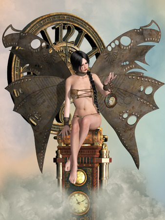 lady clock: Fantasy landscape with big clock and fairy