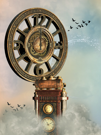 fantasy: Fantasy landscape with big clock and birds