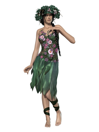 manipulation: isolate fairy with green dress and crown of flowers