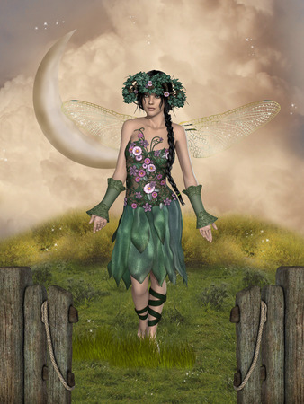 manipulation: Fantasy landscape with a fairy in a garden Stock Photo
