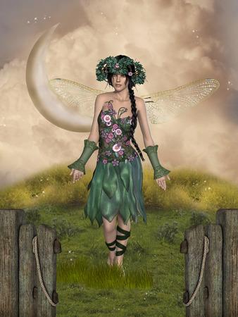enchanting: Fantasy landscape with a fairy in a garden Stock Photo