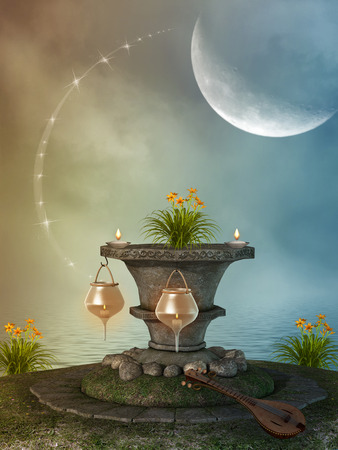 Fantasy landscape with stone pedestal and lamps