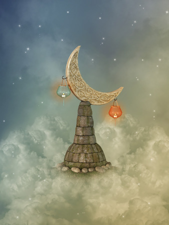 manipulate: Fantasy landscape in the sky with moon pedestal Stock Photo